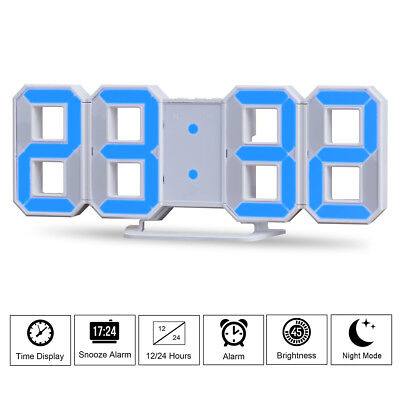 LED Digit Large 3D Display Table Wall Clock Alarm Clock Brightness Dimmer Snooze