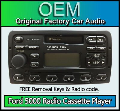 Ford Cougar Cassette player, Ford 5000 car stereo with radio removal keys, code