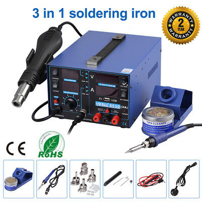 3 in 1 Soldering Iron Station 853D SMD Rework USB Hot Air Gun DC Power Supply