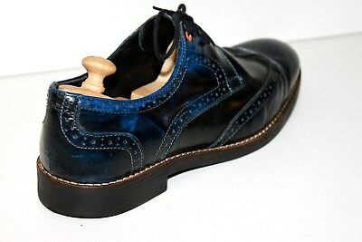 CHEVIGNON Derby shoes Lace Leather Blue Iris Moderate Black T 41