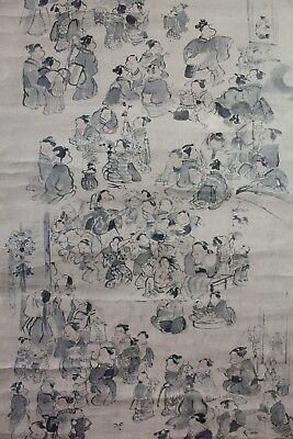 Antique Japanese hanging scroll on paper signed Gyokuho 玉鳳 n1103