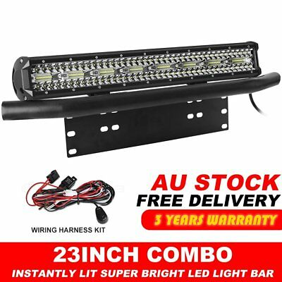 "23 inch Tri-row LED Light Bar + 23"" Number Plate Frame Mount Bracket 4X4 Black"