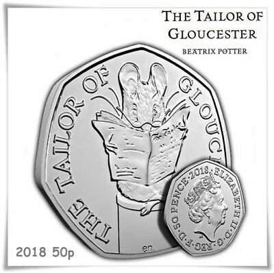 The Tailor Of Gloucester 50p 2018 Uncirculated Coin from Sealed Bag.