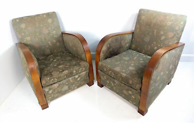 Antica Coppia Poltrona Art Deco Vintage Design Sofa 1940 Armchair Epoca