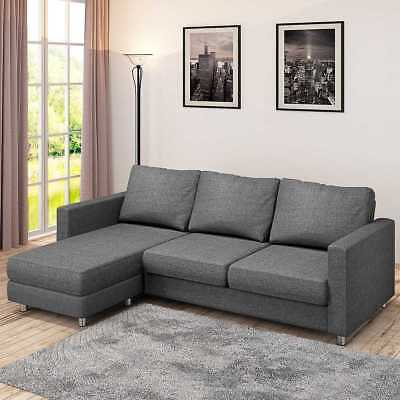 Terrific Modern Dark Grey Fabric L Shaped Corner Sofa Small 3 Seater Gmtry Best Dining Table And Chair Ideas Images Gmtryco