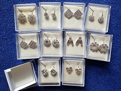 JOBLOT- 10 pairs CLIP ON diamante earrings.Gift boxed.Silver plated.UK handmade