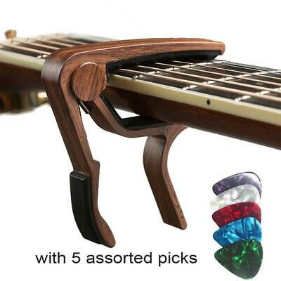 Ukulele Acoustic Classic Electric Guitar Capo Trigger Clamp Wood Grain Brown UK