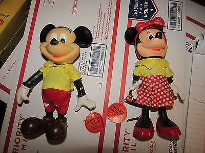 Mickey Mouse & Minnie Mouse Vintage R.Dakin Disney , JOINTED, ORIGINAL TAGS