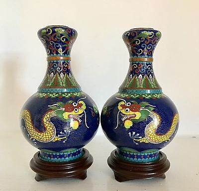 Fine PAIR Antique Old Chinese Cloisonne Vases ~Stands ~Dragons & Flaming Pearl