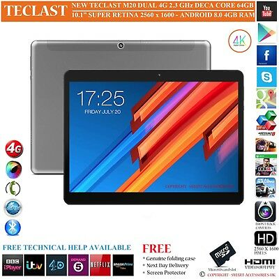 "Teclast M20 4G 4Gb Ram Deca Core 64Gb 10.1"" S Retina 8.0 Android Phone Tablet Pc"