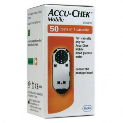x50 Accu-Chek Mobile Blood Glucose Test Cassette + free lancet drums and needles
