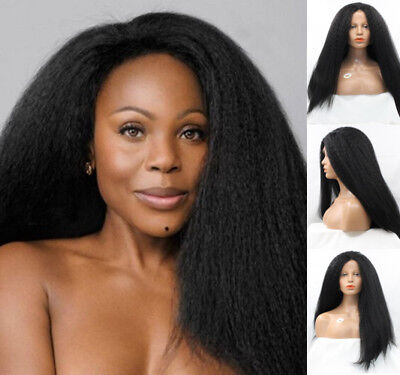 "AU 24"" Cosplay Off Black Kinky Straight Synthetic Fiber Hair Lace Front Wig"
