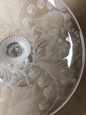 RARE SIGNED Antique Libbey Intaglio Cut Etched Glass Clear Compote Twisted Base