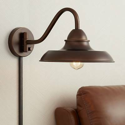 """Bowdon Bronze 10""""H Indoor Plug-In Sconce With Edison Bulb"""