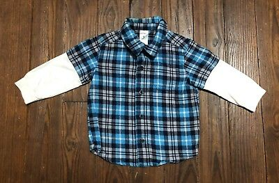 Carter's Baby Boy 9 Months Blue Flannel Long Sleeve Button Down Shirt