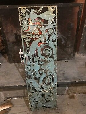 Very Heavy Antique Cast-Iron Peacock Cold Air Return Decorative Vent 15 x 51.25