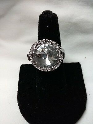 Lia Sophia Pave Halo Huge Clear Bling Rhinestone Silver Truce Ring 6