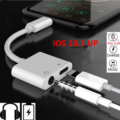 2 in1 Lightning 3.5mm Adapter Headphone Jack Splitter Cable For iPhone XS MAX X