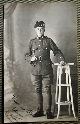 WWI Scottish Soldier RPPC - Signed & Dated 13th April 1916