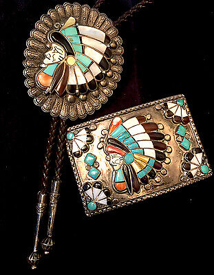 Important Zuni Museum Quality Ralph Quam Chief's Head Bolo Channel Mosaic Inlay