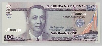Philippines 2010 100 Peso Bank Note Fancy Serial Number 8'S (888)