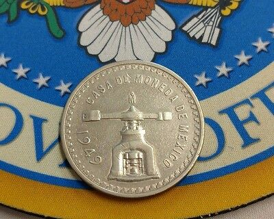 First Troy Ounce Silver Coin Made in American Continent 1949 Mexico Una Onza #3
