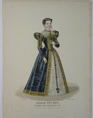 Mary Stuart Queen of Scots Antique Print Hand Colored Engraving Costume 1800's