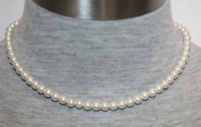 """eli k Womens Sterling Silver 6mm Glass Base White Pearl 16"""" Necklace"""