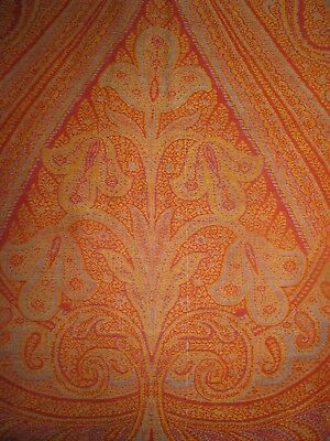 Antique Paisley Shawl Red Center Flowers Tablecloth Red Green Christmas 19Th C