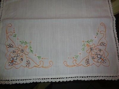 Embroidered Daisy Floral Lace Trim table runner White Table Runner Dresser Scarf