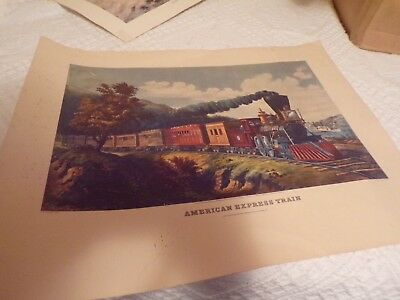 Vintage Currier and Ives American Express Train Color Print