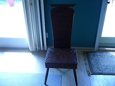 VTG NOVA Butler chair with drawer storage. Vinyl covered chair. Valet Clothes