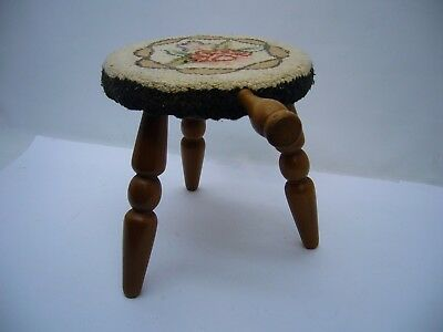 VTG Authentic Furniture Wooden 3 leg Milking Foot Stool Embroidered Rose top