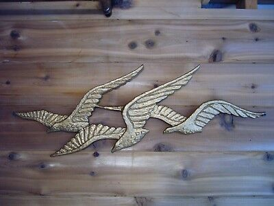 VTG Sexton #2003 Golden metal birds wall art hanging Birds in flight 1970 MCM