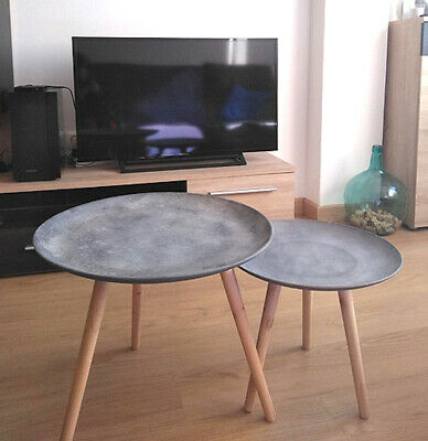 Small Round Coffee Table.Small Round Side Tables Coffee Table Lamp Stand Home Modern Furniture Set Wooden