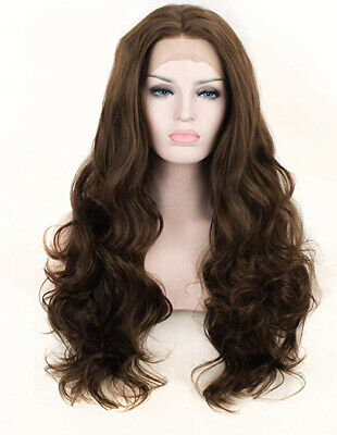 "AU 24"" Long Wavy Curly Lace Front Wig Synthetic Hair Handtied Brown"
