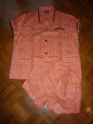 Seidensticker True Vintage 70er Schlafanzug Pyjama Shorty Herren orange Größe 52