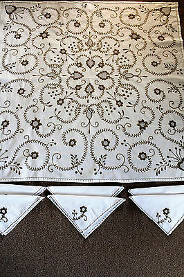 Vintage white and brown embroidered square tablecloth and 6 matching napkins.