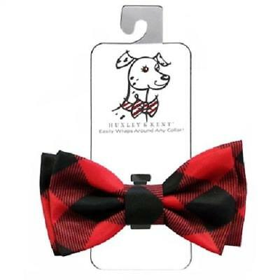 NEW Red Buffalo Check Plaid Holiday Dog Bow Tie Collar Attachment -Huxley & Kent