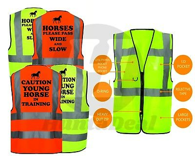 Equine Hi Viz Vis Horse Riding Train Waistcoat Vest Equestrian Safety Reflective