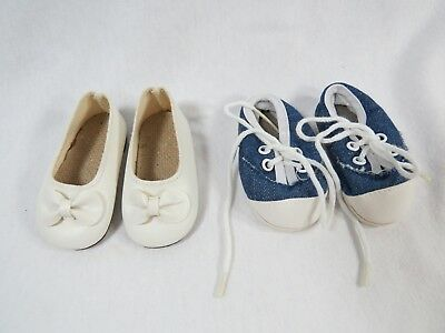 Retired Magic Attic Club Shoes - Cream with a Bow & Blue & White Sneakers