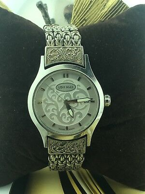 "Vintage Lois Hill Swiss Quartz Stainless Steel / Silver Large Watch 8.5"" LH-0006"