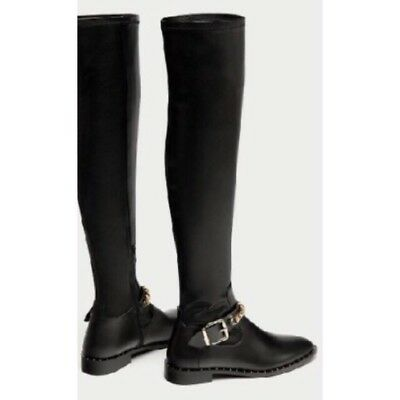 4b8f7e01f1d15 NEW ZARA FLAT Over The Knee High Black Boots With Chain Detail 40 9