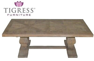 """Tuscany"" White Wash Parquetry Hamptons Style 120x70cm Rectangle Coffee Table"