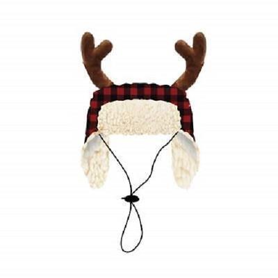 NEW Red Buffalo Check Plaid Holiday Dog Hat with Antlers by Huxley & Kent