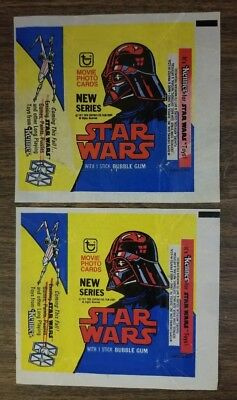 (2) Flattened 1977 Topps Star Wars Wrappers 0-454-21-01-7