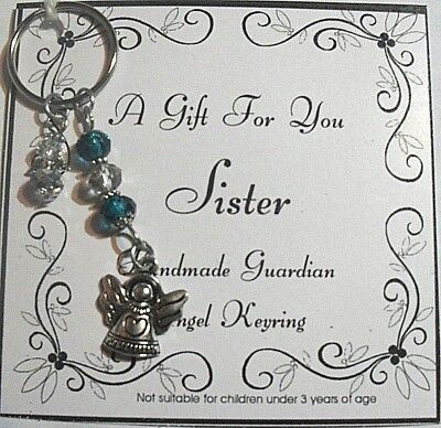 Gift Sister Guardian Angel Keyring With Crystal Glass Beads