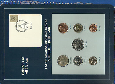 Coin Sets of All Nations Great Britain UNC 1£, 1, 2, 5, 10, 20, 50p 1985