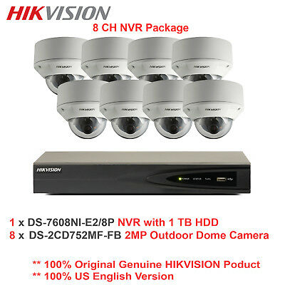 US Hikvision 8CH NVR Package/8 x 2MP Outdoor VF IP Network Vandal Dome/PoE/2TB