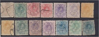 (K130-181) 1909 Spain mix of 14 stamps 2c to 50c (FS)